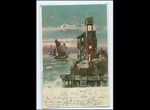 U6486/ Halt gegen Licht Leuchtturm Litho AK 1901