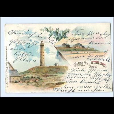 U6279-2278/ Gruß aus dem Nordseebad Amrum Leuchtturm 1910 Litho AK