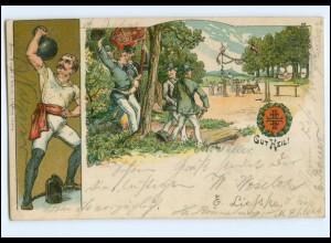 Y12136/ Gut Heil! Turnen Sport Turner Litho Ak 1905