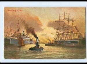 U6432/ Hamburg Hafen Schlepper, Dampfer, Segelschiff T.S.N. Verlag AK ca.1912