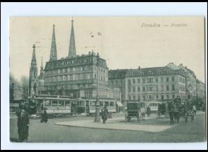 U6222-01./ Dresden Posthaus Straßenbahn 1921 AK