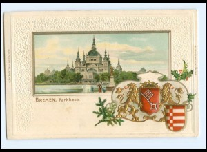 U6533/ Bremen Parkhaus schöne Litho Prägedruck Wappen AK 1907