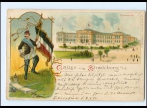 U6531/ Gruß aus Strassburg Elsaß Student Studentika Universität Litho AK 1898