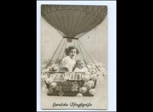Y12211/ Pfingsten AK Kinder fahren Ballon AK 1917