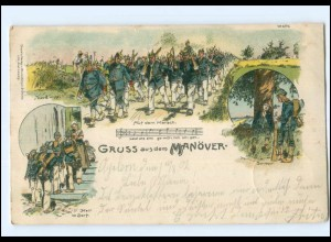 U6669/ Gruß vom Manöver Soldaten Militär Litho AK 1902