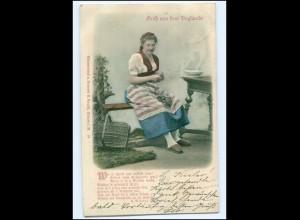 Y12195/ Gruß aus dem Vogtlande Trachten Reliefdruck AK 1900
