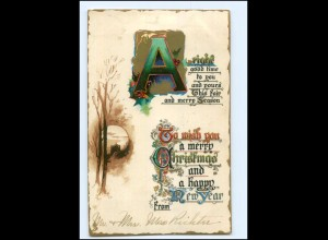 Y12222/ Weihnachten Christmas New Year Litho Präge AK 1911