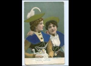 Y12198/ Tiroler Tracht Frauen, Seide aufgeklebt AK ca.1900