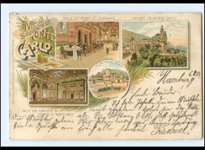 U6700/ Monte Carlo Monaco Spielkasino Litho Ak 1907