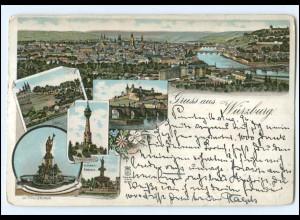 Y12152/ Gruß aus Würzburg Litho AK 1896