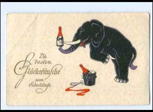 Y12191/ Geburtstag AK Elefant mit Sekt AK ca.1935