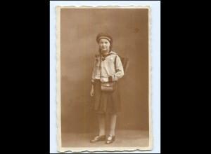 """Y12165/ Mädchen mit Ranzen mit Mützenband """"Marineflieger"""" Schule Foto AK 1926"""