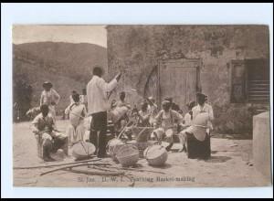 U6615/ Dänisch Westindien St. jan Teaching Basket-making AK Karibik ca.1910