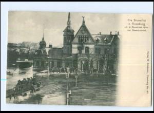 U6680/ Flensburg Sturmflut Hochwasser Staatsbahnhof 1904 AK