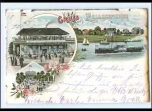 XX005089/ Hamburg Gruß aus Zollenspieker Litho AK 1900