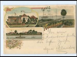 XX005282-2168/ Gruß aus Krautsand bei Drochtersen Litho AK 1901