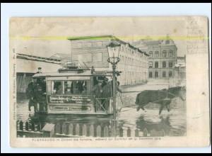XX004881/ Flensburg Pferdebahn Hochwasser Sturmflut 1904 AK