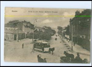 XX004882/ Kowno Litauen Pferdebahn Kaiser Wilhelm Str. AK 1916