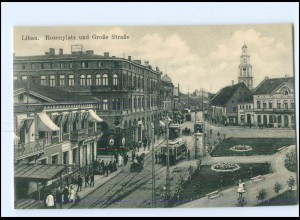 XX005052/ Libau Rosenplatz Straßenbahn Lettland AK ca.1914