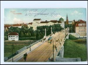 XX005205/ Posen Theaterbrücke Straßenbahn AK 1915