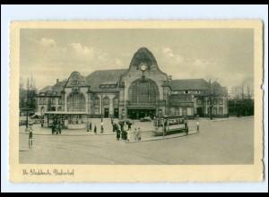 XX005134/ Mönchengladbach Bahnhof Straßenbahn 1939 AK