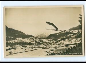XX005119/ Dt. Skimeisterschaft 1927 Skispringen Walter Glass, Garmisch Foto AK