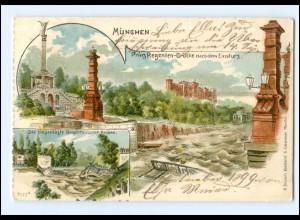 Y13106/ München Prinz Regenten-Brücke nach dem Einsturz Litho AK 1899