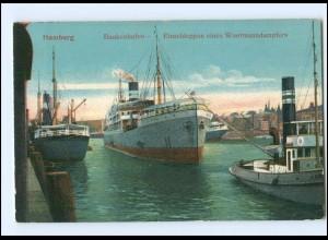 Y12310/ Hamburg Baakenhafen Woermanndampfer und Schlepper AK ca.1910