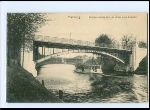Y12496/ Hamburg Uhlenhorst Hochbahnbrücke Dampfer 1914 AK