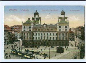 Y12567/ Dresden Postplatz Straßenbahn 1922 AK