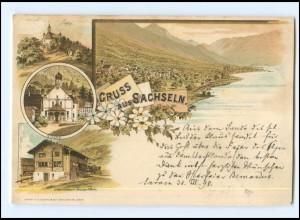 S1969/ Gruß aus Sachseln Litho Ak 1898 Schweiz