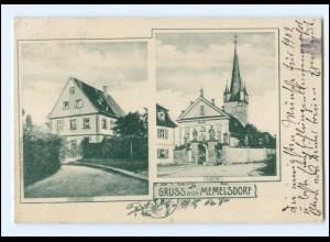 U9117-8608/ Gruß aus Memmelsdorf Kirche Pfarrhaus AK 1902