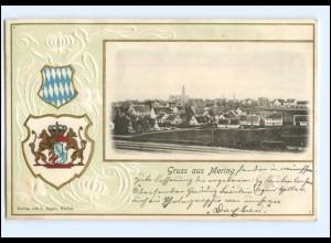 S2076/ Gruß aus Mering schöne Wappen Prägedruck AK 1901