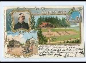S2078/ Gruß aus Wörishofen Tennisplatz tolle Litho Prägedruck AK 1902
