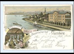 S2083/ Gruß aus Starnberg Jotel Bayerischer Hof Litho AK 1898