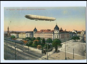 Y12674/ Konstanz Bahnhof Hauptpost Zeppelin Luftschiff AK 1913