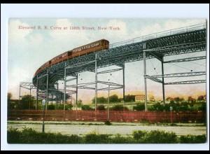Y12656/ New York Elevated R.R. Curve at 110th Street USA AK ca.1912