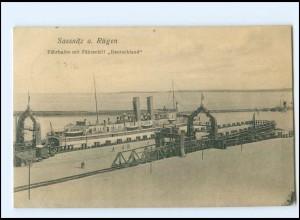 Y12748/ Sassnitz Rügen Fährschiff Fähre Deutschland AK 1912