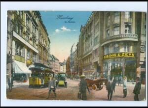 Y12688/ Hamburg Gr. Burstah Straßenbahn Autos AK 1915