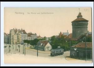 Y12837/ Nürnberg Am Pfarrer und Spittlertorturm Straßenbahn ca.1900 AK