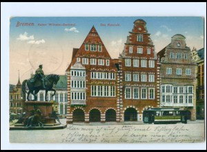 Y12788/ Bremen Kaiser Wilhelm-Denkmal Das Ratscafé Straßenbahn 1912 AK