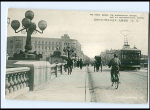 U8211/ Dairen China Nippon-Bashi Bridge Tramway Straßenbahn AK ca.1930