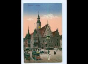 Y12883/ Schlesien Breslau Rathaus Straßenbahn AK