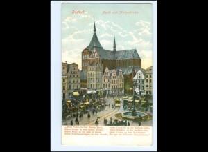 Y12801/ Rostock Markt und Marienkirche Straßenbahn 1906 AK