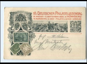 U7071/ Privatganzsache PP19 C4/01 Nürnberg 18. Philatelistentag 1906 + SST