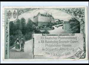 U7070/ Privatganzsache AK Gössnitz XX: Dt. Philatelistentag 1908 PP27 C98 + SST