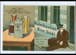 U7368/ Bier Kulmbacher Bier Stübl Litho AK betrunkener Mann, Bierkrug 1912