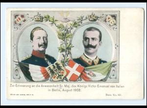 U6988/ Kaiser Wilhelm + König Victor Emanuel Italien in Berlin 1902 AK