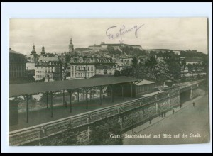 U6965/ Glatz Bahnhof Foto AK Schlesien 1929