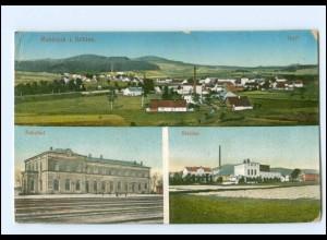 U6960/ Ruhbank Bahnhof Bleiche Schlesien AK ca.1915